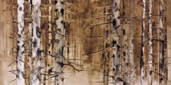 Forêt de bouleaux à l'encre de chine et au brou de noix