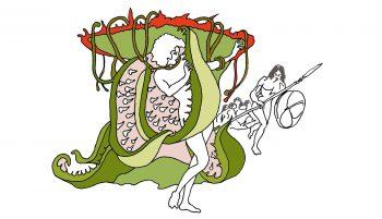 D'après Sacrificed to a man-eating plant,…