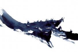 Les animaux sont des signatures. Leurs formes des calligraphies vivantes. d'ailleurs, la calligraphie est née de l'observation de la nature. Le chamois en mouvement devient une tache qui coule sur une feuille de papier, un geste décrit par le pinceau.