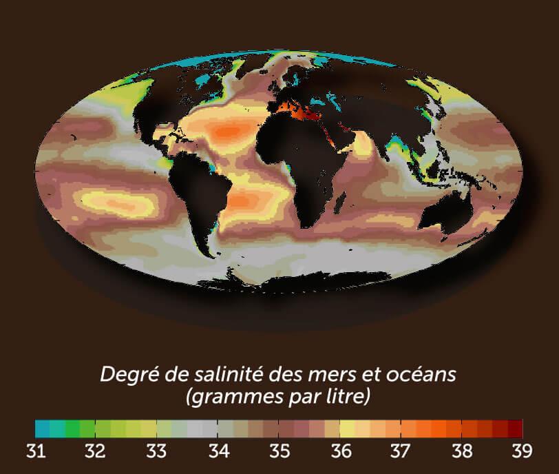 Concentration du sel dans les mers et océans