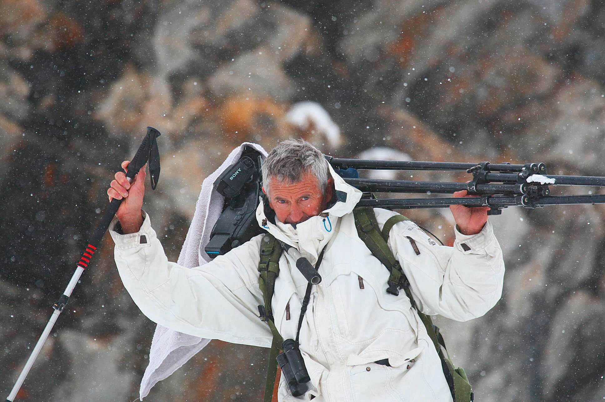 Erik Lapied durant le tournage du…