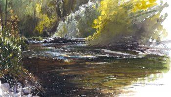 La rivière et ses reflets scintillants en aquarelle