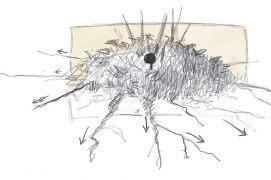 «Le nid (point foncé au centre du dessin) est au centre d'un grand massif. Il est bien protégé des chocs. Sa position en hauteur l'isole du sol mais il reste à l'abri de la pluie sou les dernières feuilles. En m'approchant, j'ai remarqué que les stolons qui partent en étoile autour du massif pouvaient peut-être constituer un excellent système d'alarme. Impossible de ne pas s'y crocher les pieds dans un rayon de 2m:  La ronce est secouée et le muscardin averti!» / © Laurent Willenegger