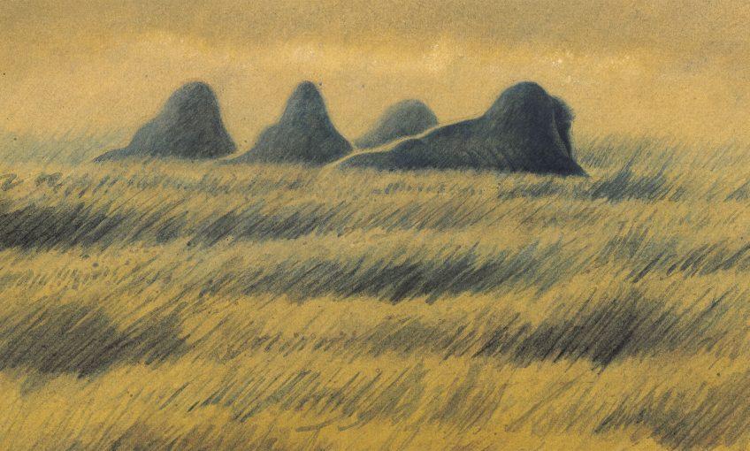 Silhouettes de mammouths sous la lune