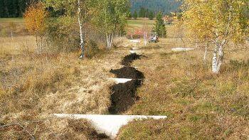 Utilisation de tourbe pour combler des fossés de drainage