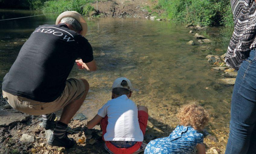 Enquêtez sur les empreintes d'animaux au bord de la rivière