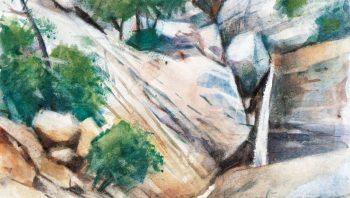 Les cascades - Aquarelle sur papier avec grattage,  20 x 30cm
