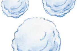 Le grésil est typique des chutes de neige orageuses. / © Dessins Rose Gigon ( Météorisk/Le vent des cimes)