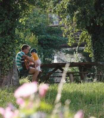 guitare jardin bébé père herbe