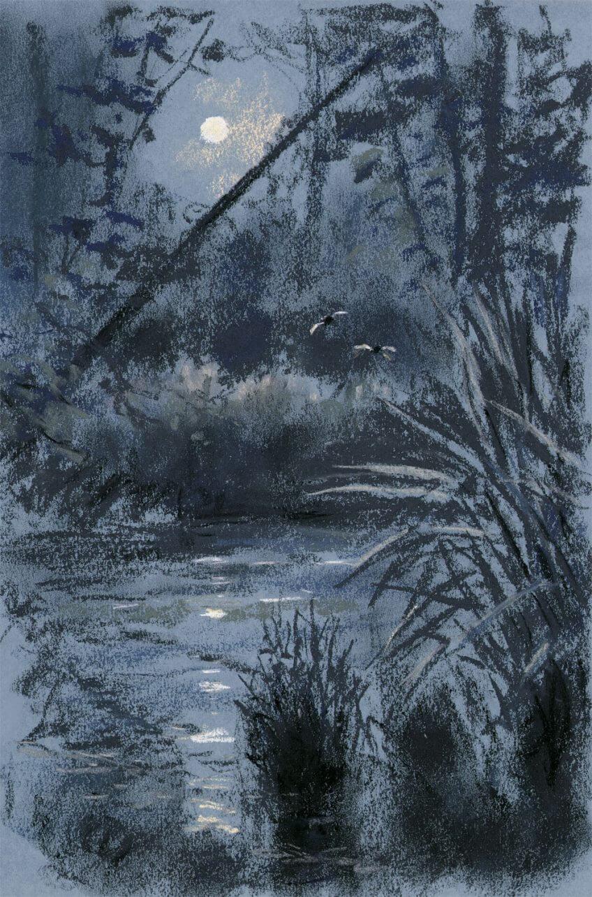 dessin nuit lac lune