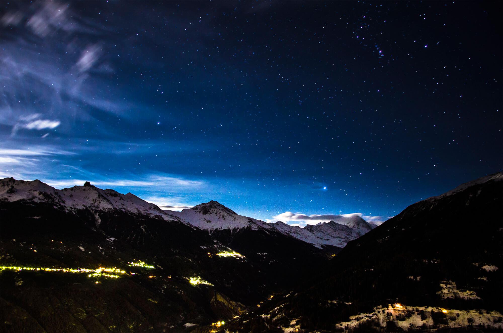 nuit hiver Valais photo montagne