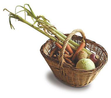 Panier de légumes chou carotte poireau