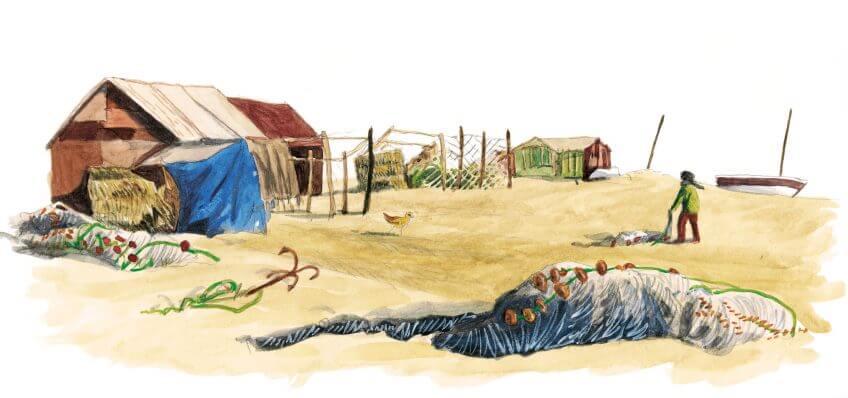 Cinquième étape d'un voyage en suivant les oiseaux migrateurs - La Salamandre dessin pêcheur
