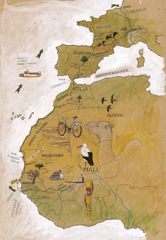 Huitième étape d'un voyage en suivant les oiseaux migrateurs - La Salamandre carte itineraire