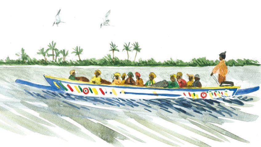 Septième étape d'un voyage en suivant les oiseaux migrateurs - La Salamandre barque dessin afrique