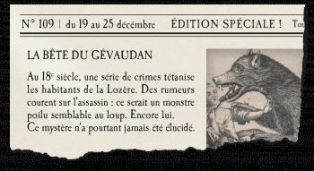 Journal avec article sur la bête du Gévaudan