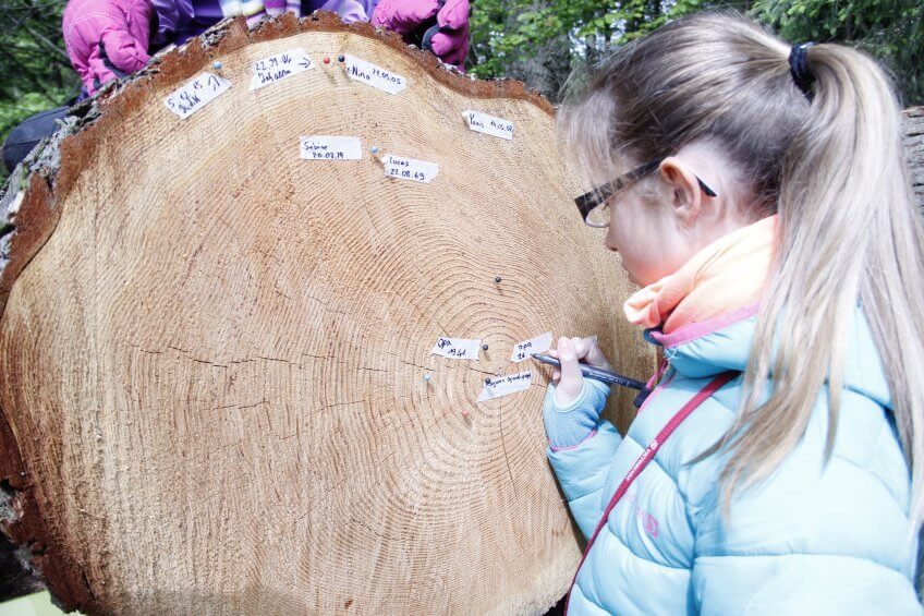 Une enfant écrivant sur un tronc.