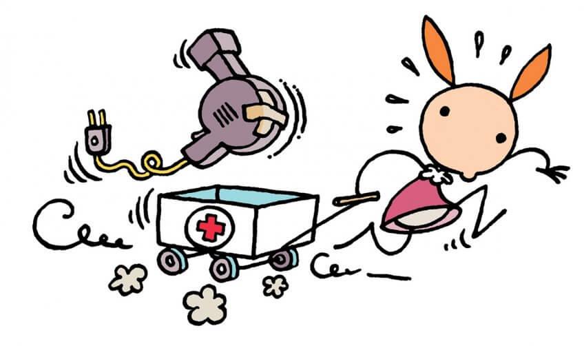 Illustration de Myrtille amenant un sèche-cheveux à réparer