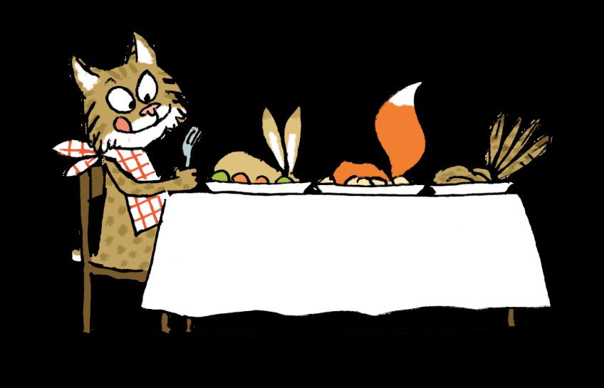 Illustration d'un lynx à table, avec un lapin, un renard et un oiseau en guise de repas
