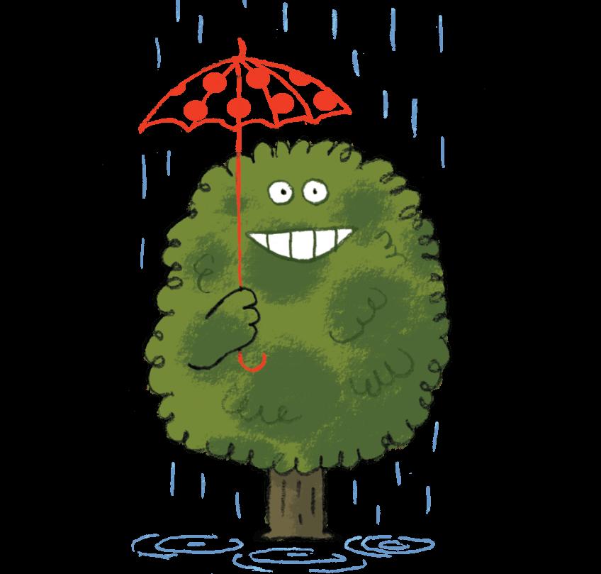 Illustration d'un arbre qui s'abrite de la pluie avec un parapluie