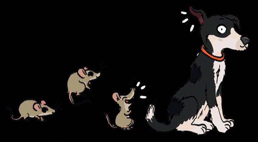 Illustration d'un chien qui entend des souris