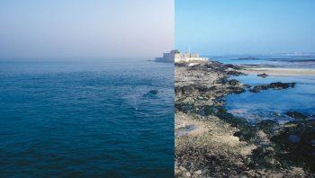 Marée haute à gauche et marée basse à droite