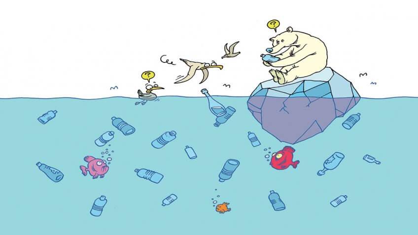 Illustration de la pollution des océans par des bouteilles en plastique