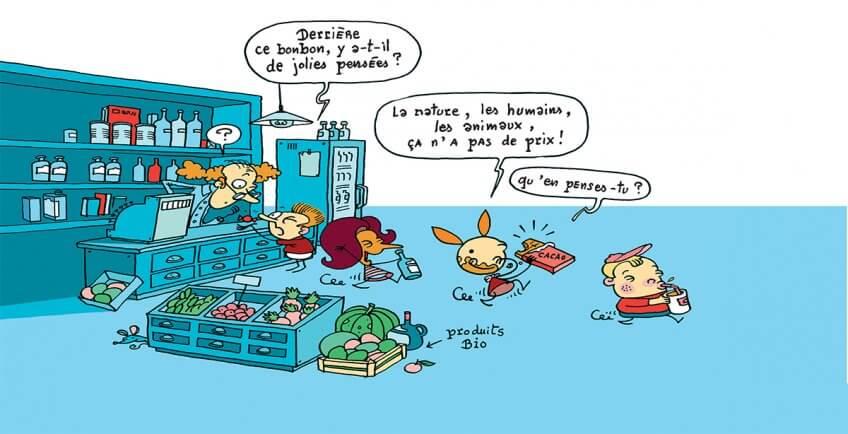 Illustration de Myrtille et ses amis dans un magasin bio et équitable