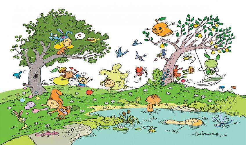 """Illustration des fruits """"gueules cassées"""" plein de vie"""
