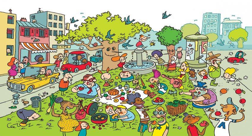 Illustration d'un moment de partage autours des fruits et légumes