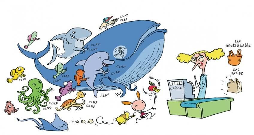 Illustration d'animaux heureux de l'arrêt des sacs en plastiques