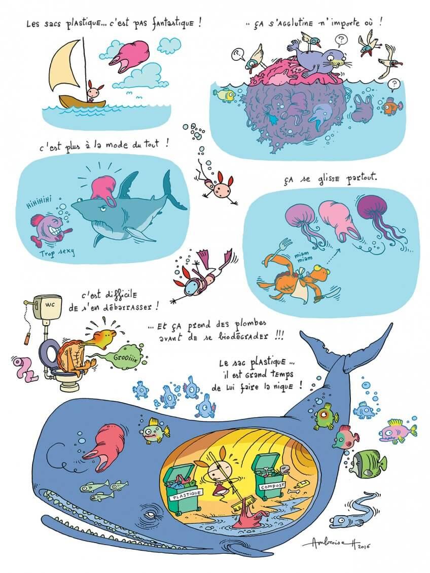 BD sur la pollutions des océans par les sacs en plastiques