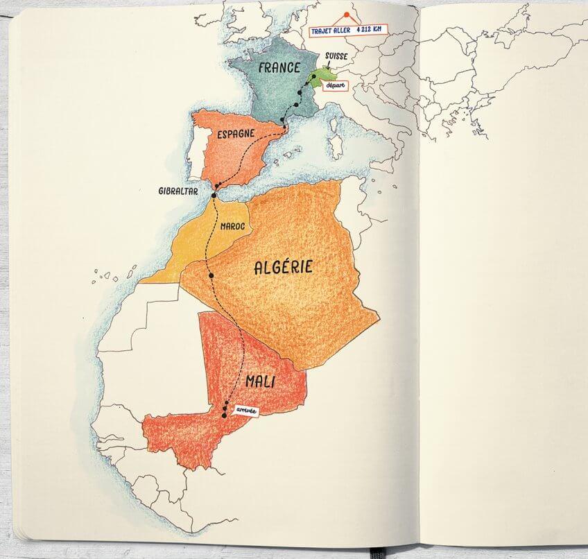 Carte de voyage de la cigogne