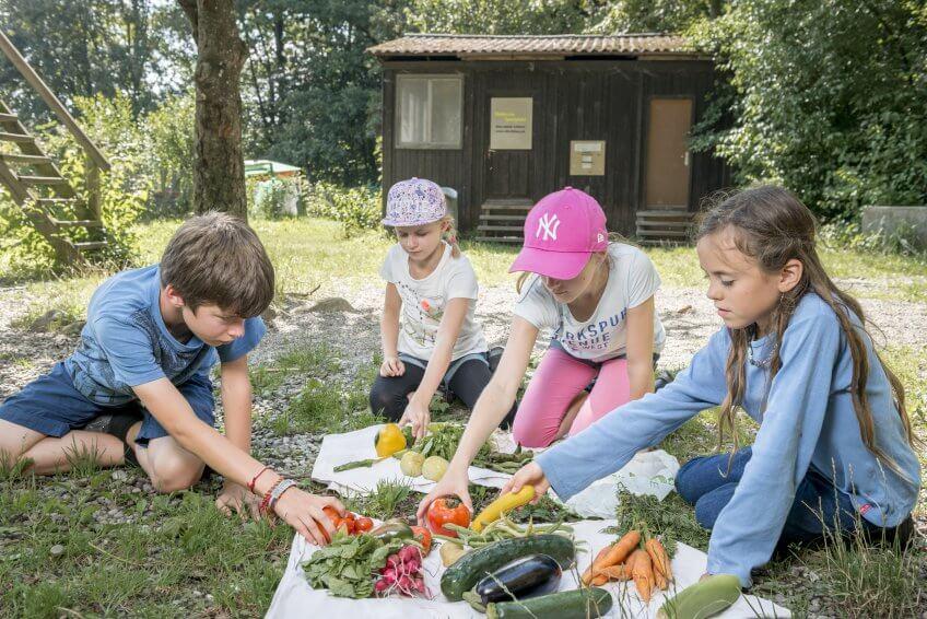 Des enfants avec des légumes.