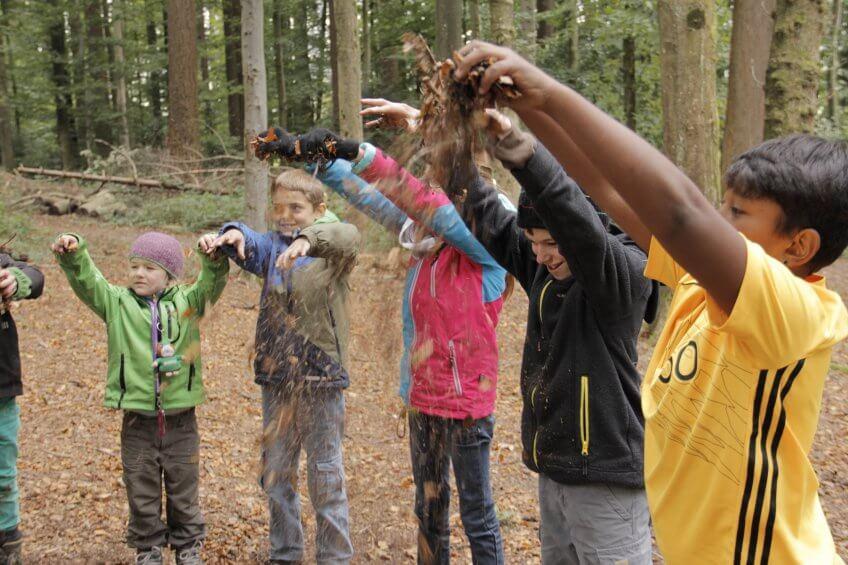 Des enfants qui font tomber des feuilles.