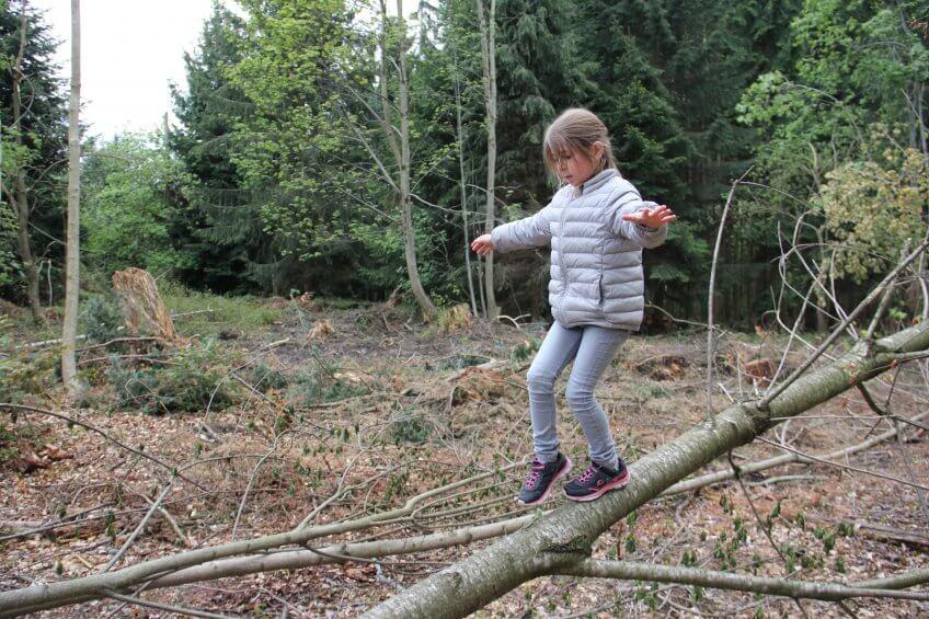 une enfant teste son équilibre sur un tronc d'arbre.