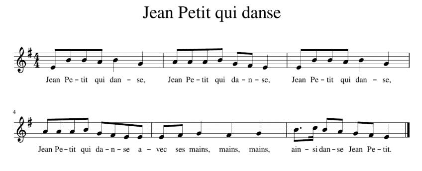 """La partition de """"Jean Petit qui danse""""."""