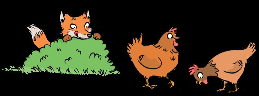 Renard guettant des poules
