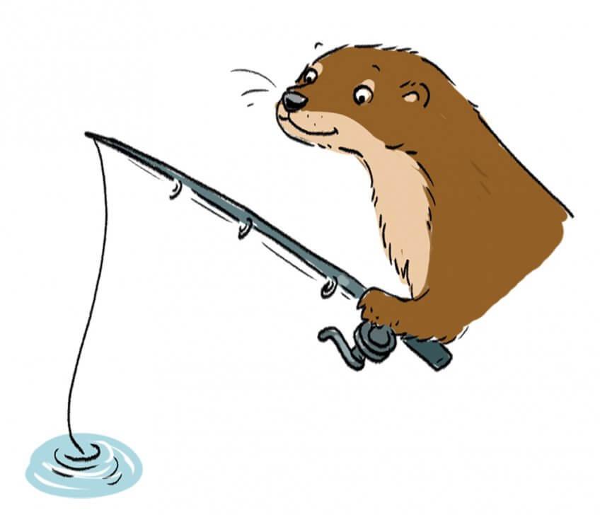 La loutre en train de pêcher !