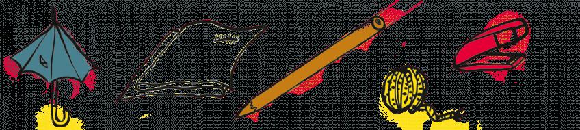 Dans l'ordre : un vieux parapluie, un vieux drap, un bâton solide, une ficelle et une agrafeuse