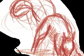 «L'écureuil arrive avec une noix. Il creuse la litière de feuilles, pose son butin, le recouvre. Puis s'en va.» Jean Chevallier, 14 septembre 1985 / © Jean Chevallier
