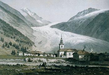 Le glacier d'Argentière immortalisé en 1860.