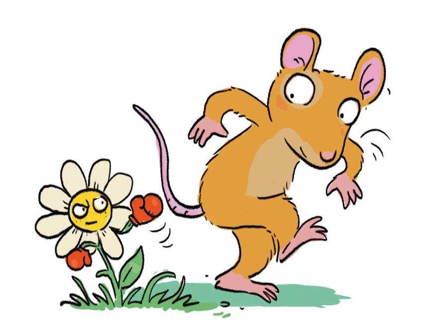 Un souris marche sur une fleur