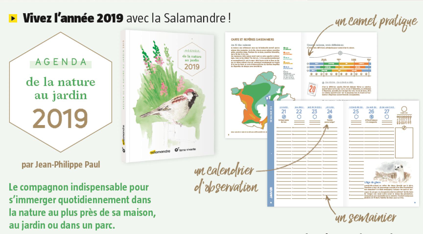 Agenda nature jardin 2019 La Salamandre Terre Vivante
