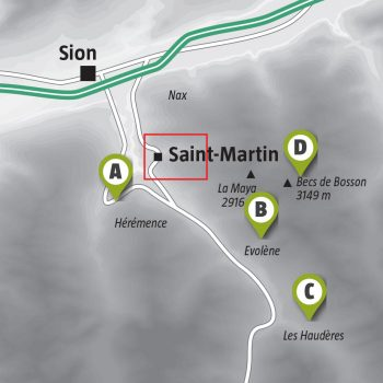 Randonnée sous la neige à Saint-Martin dans les Alpes Valaisannes
