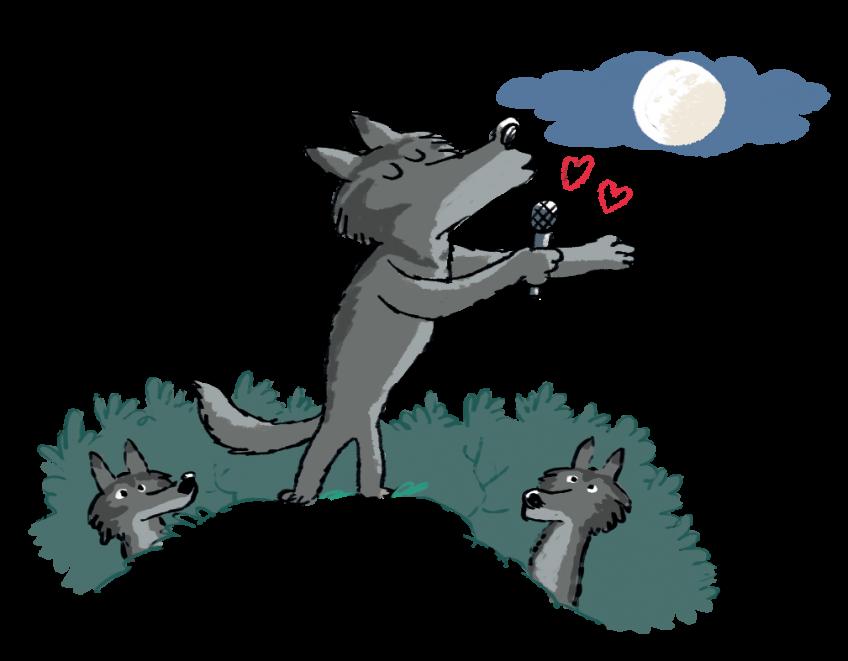 Les loups hurlent sous la lune