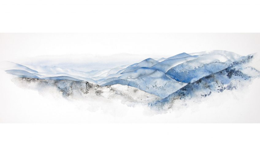 Les Vosges dessinées par Ji Young Demol Park à l'encre de Chine.