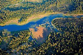 Vue aérienne du lac tourbière de Frasne (Doubs) / © Dominique Delfino / Biosphoto