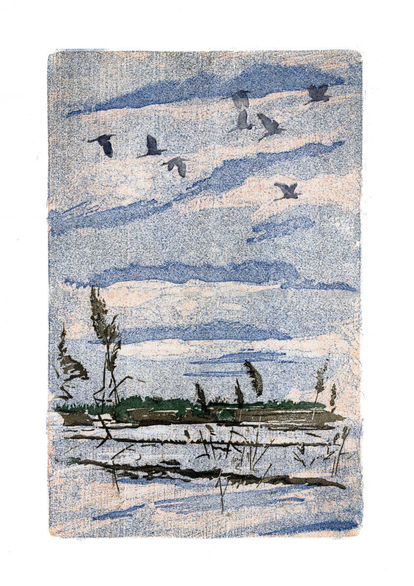 Vol de grandes aigrettes • Aigues-Mortes (Gard) • 26 janvier 2003 • gravure sur bois