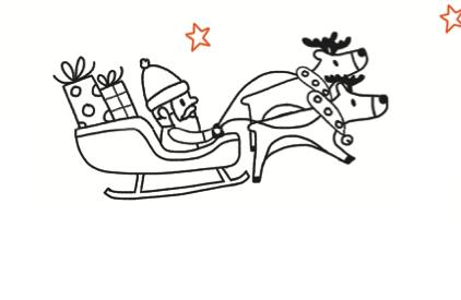 Le traîneau du Père Noël vole dans le ciel. Dessous, dessine une maison avec un sapin devant puis colorie l'image.
